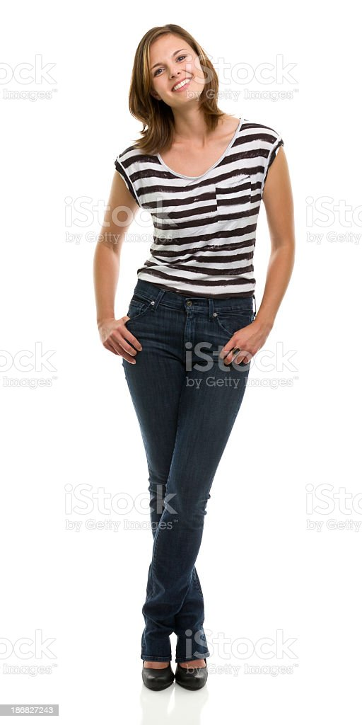 Happy Smiling Young Woman Standing Full Length Portrait stock photo