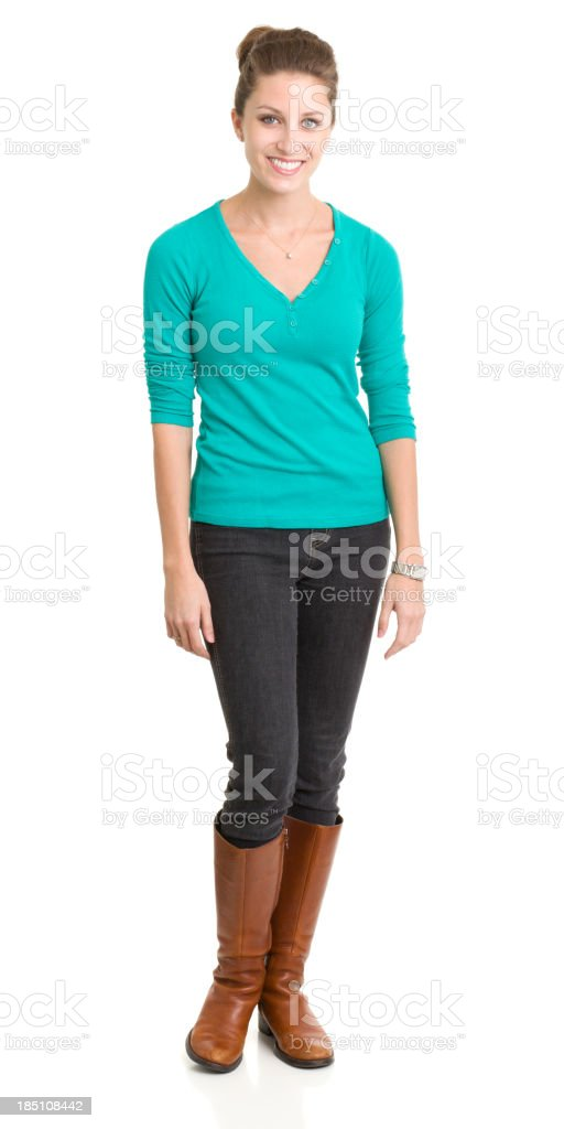 Happy Smiling Young Woman Standing royalty-free stock photo