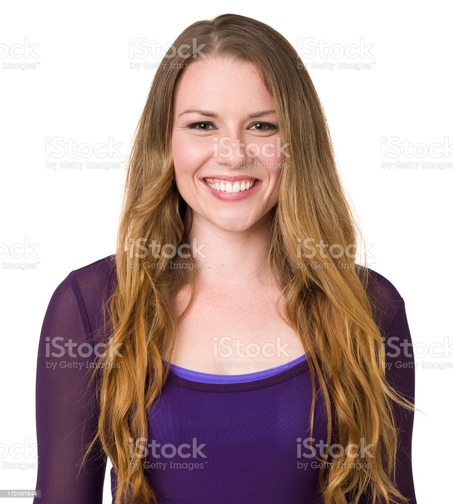 Happy Smiling Young Woman Waist Up Portrait royalty-free stock photo