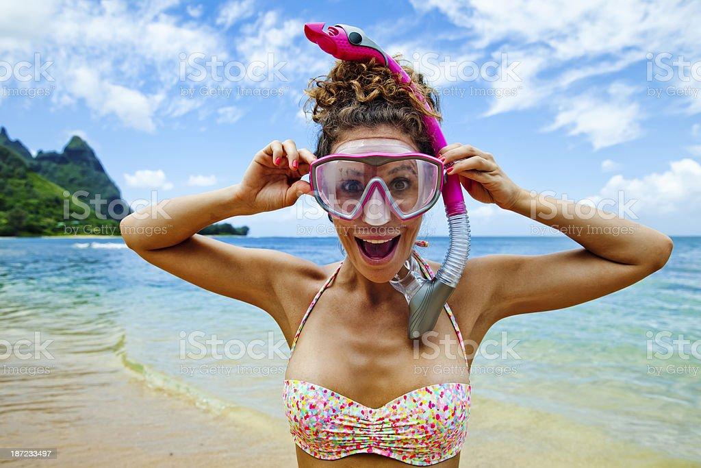 Happy Snorkeling Girl stock photo