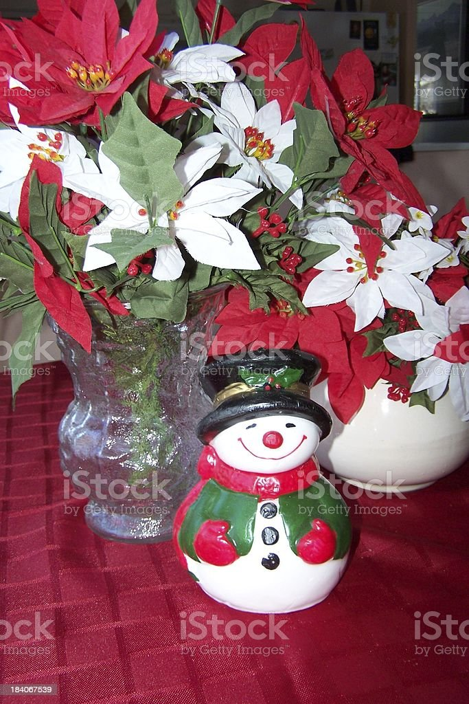 Happy snowman floral royalty-free stock photo