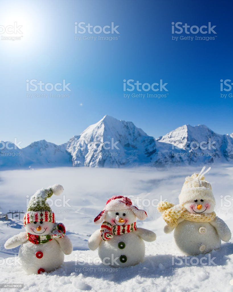 happy snowman friends royalty-free stock photo