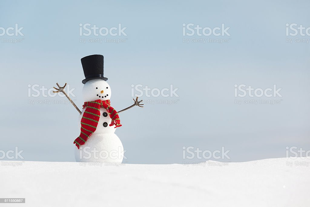 Happy Snowman in Christmas Season Horizontal stock photo