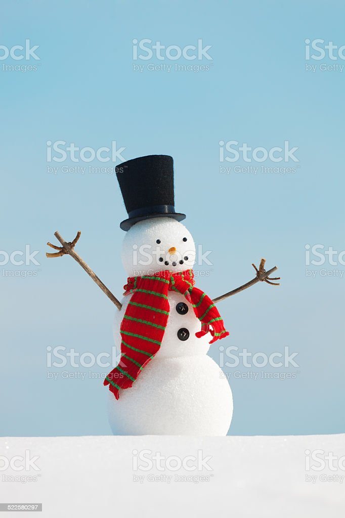 Happy Snowman in Christmas Season Vertical stock photo