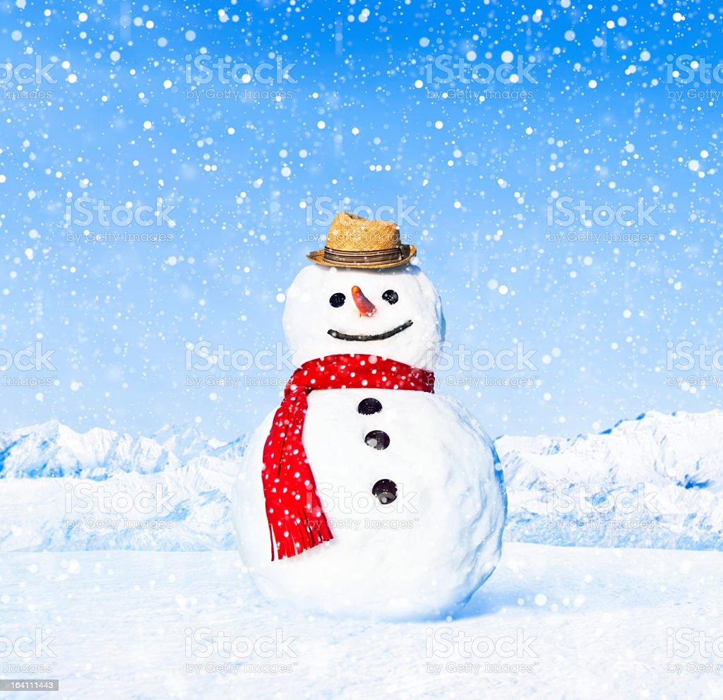 A happy snowman in the cold snow stock photo