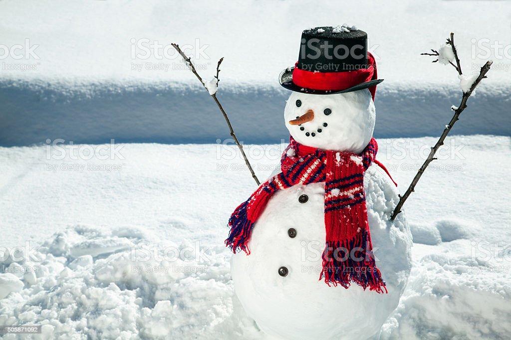 Happy Snowman stock photo