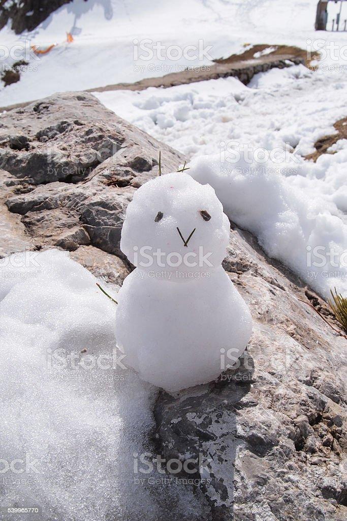 Happy Snowman, The Nordkette, the Karwendel Nature Park stock photo