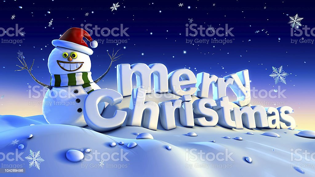 happy snowman wishes merry christmas vector art illustration
