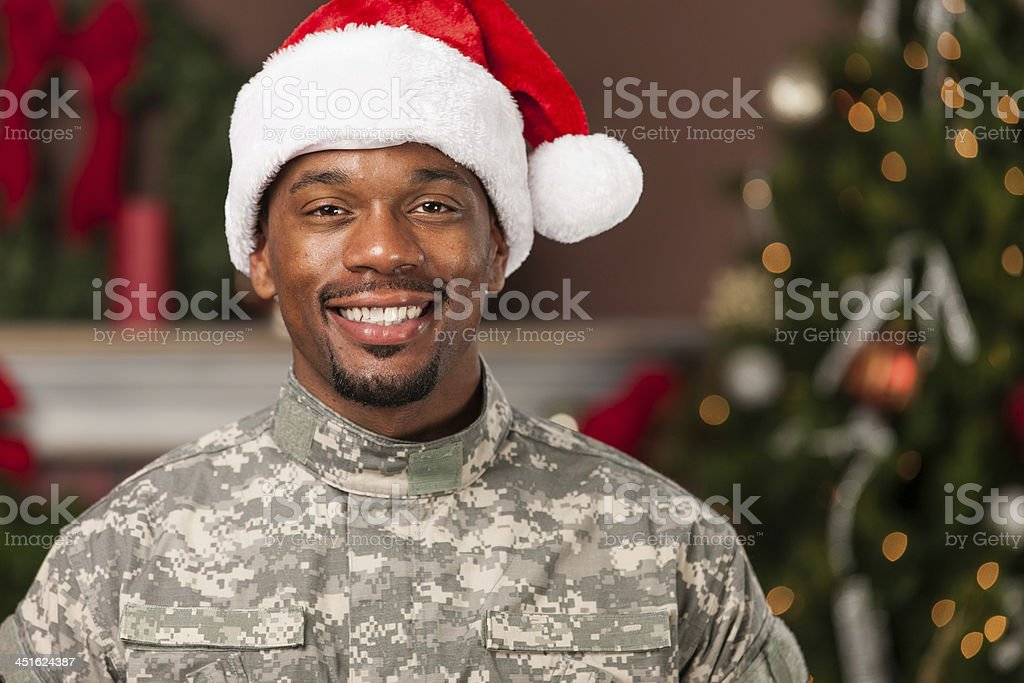 Happy Soldier Celebrating Christmas royalty-free stock photo