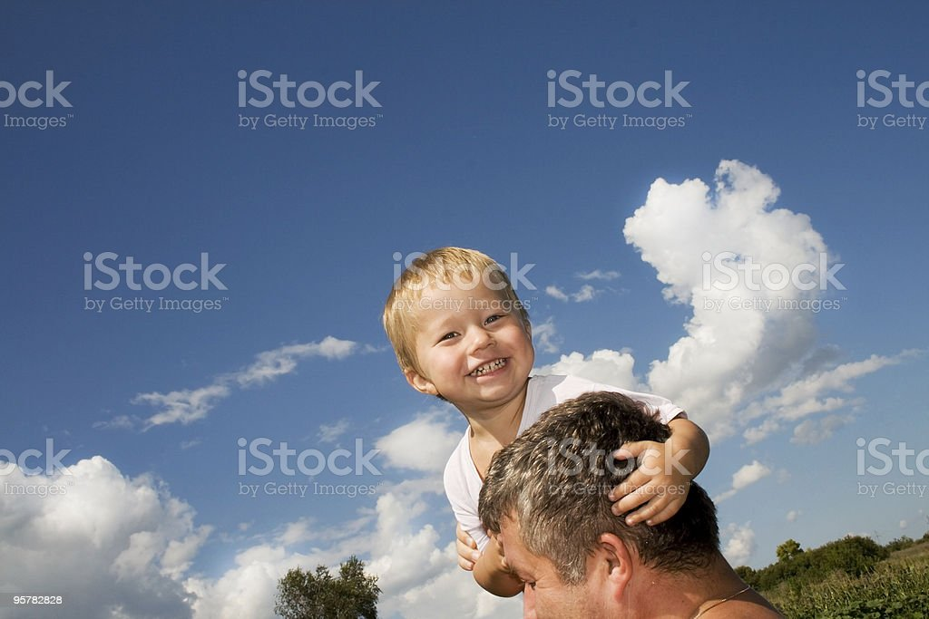 Happy son and his father royalty-free stock photo