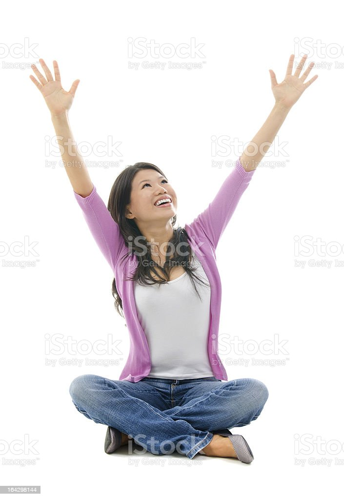 Happy Southeast Asian Chinese woman arms opened royalty-free stock photo