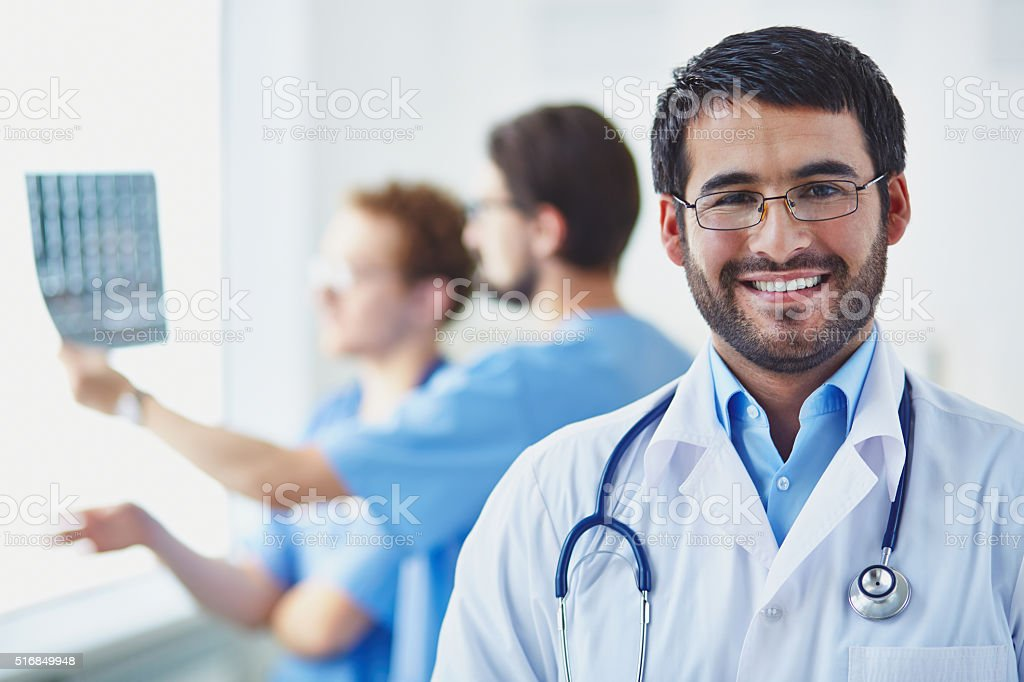 Happy specialist stock photo