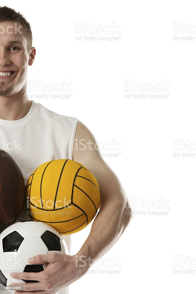 Happy sportsman holding sports equipments royalty-free stock photo