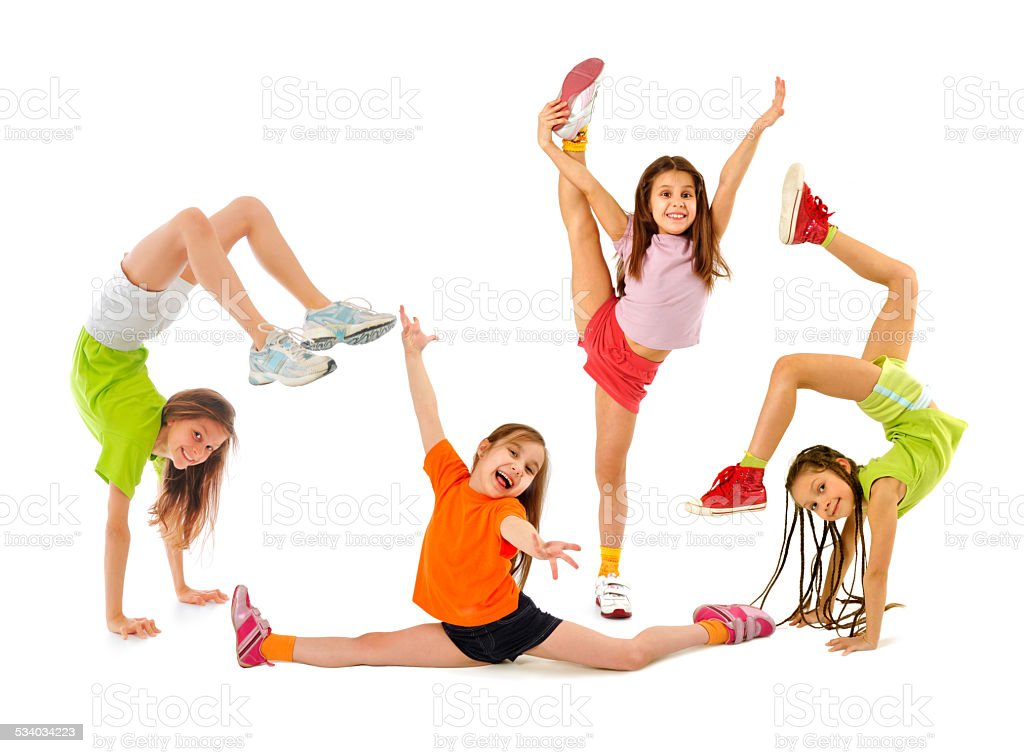 Happy sporty children stock photo