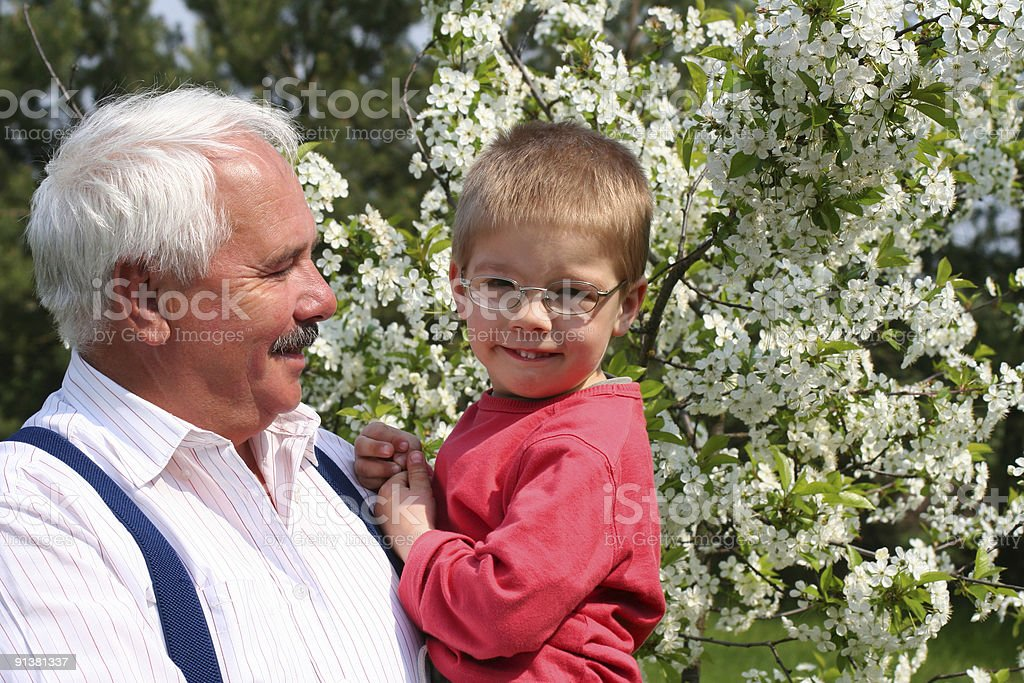 Happy spring with grandfather royalty-free stock photo