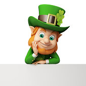 Happy St. Patrick's Day Leprechaun with sign