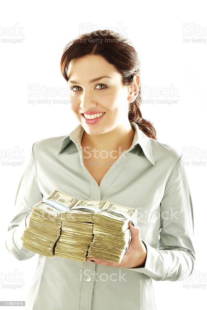 Happy stacks of money royalty-free stock photo