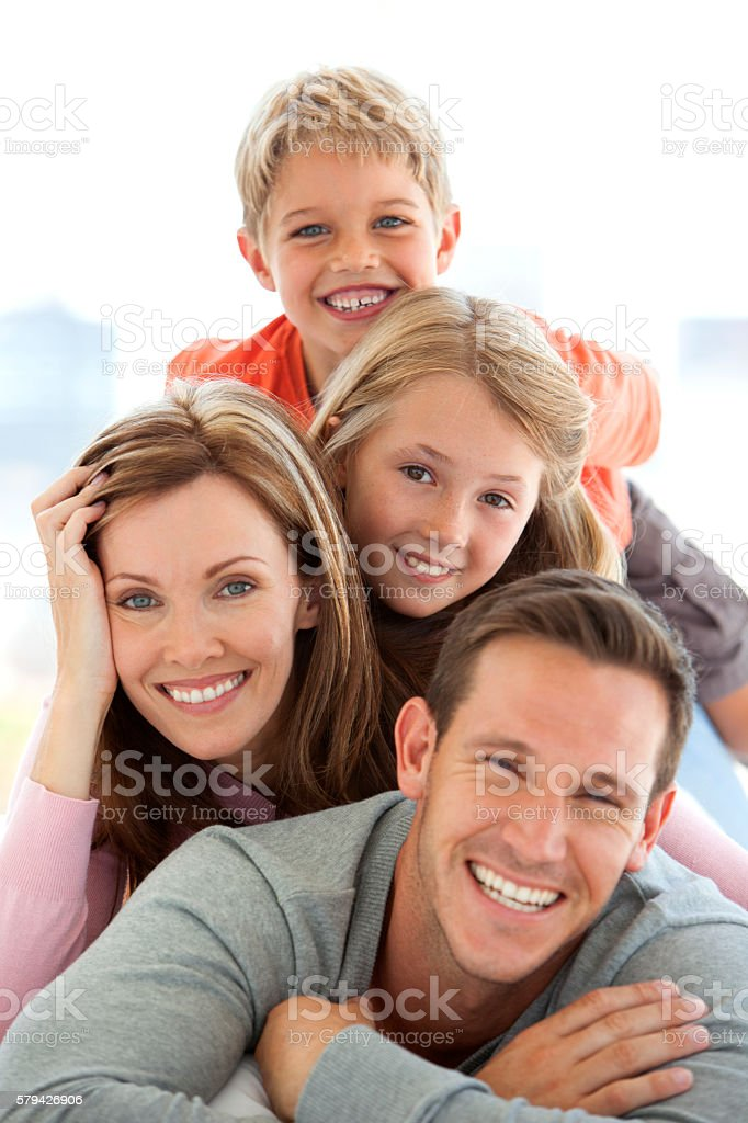 Happy standard Caucasian family stock photo