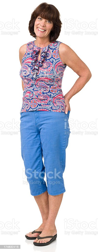 Happy Standing Mature Woman stock photo