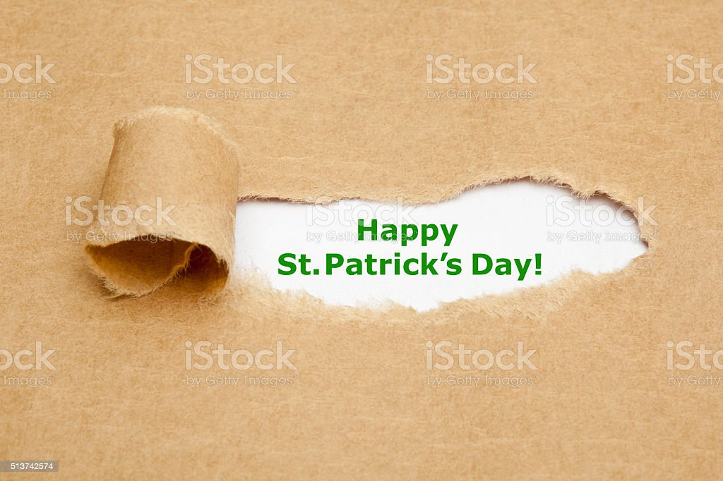 Happy St.Patricks Day Torn Paper stock photo