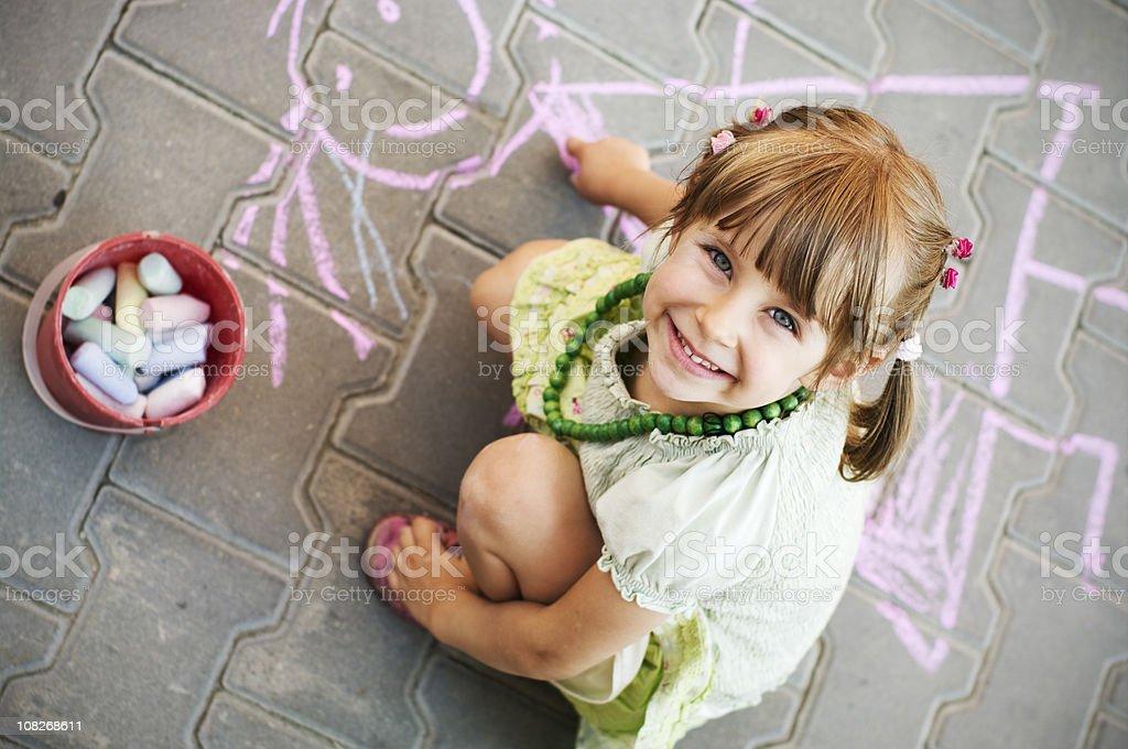 Happy street chalker royalty-free stock photo