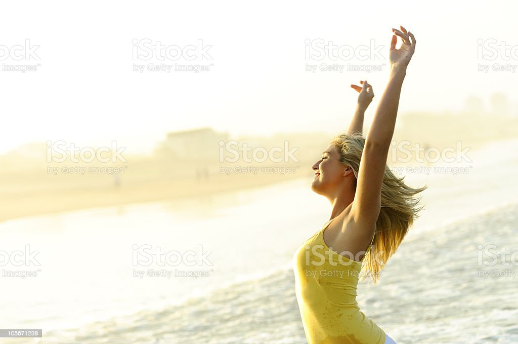 Happy, stress free woman stock photo