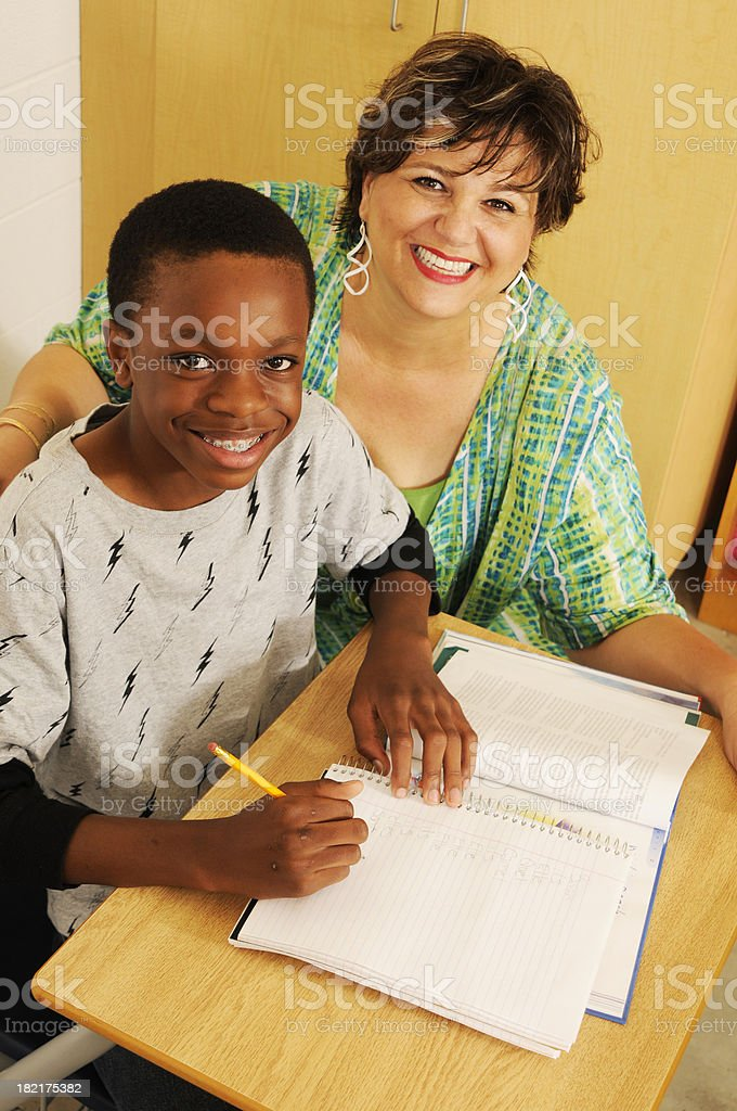 Happy Student and Teacher royalty-free stock photo