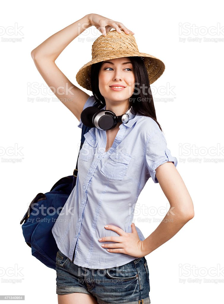 Happy student going on a trip stock photo