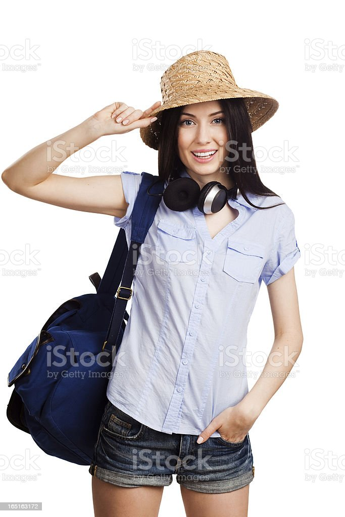 Happy student holding a starw hat stock photo