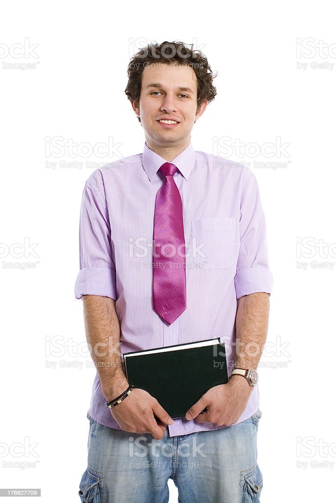 happy student in shirt and tie holds notebook, isolated royalty-free stock photo