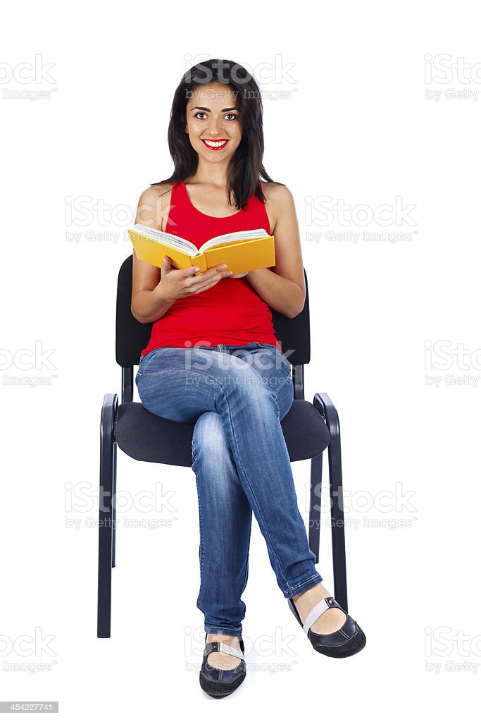 Happy Student Sitting with Book royalty-free stock photo