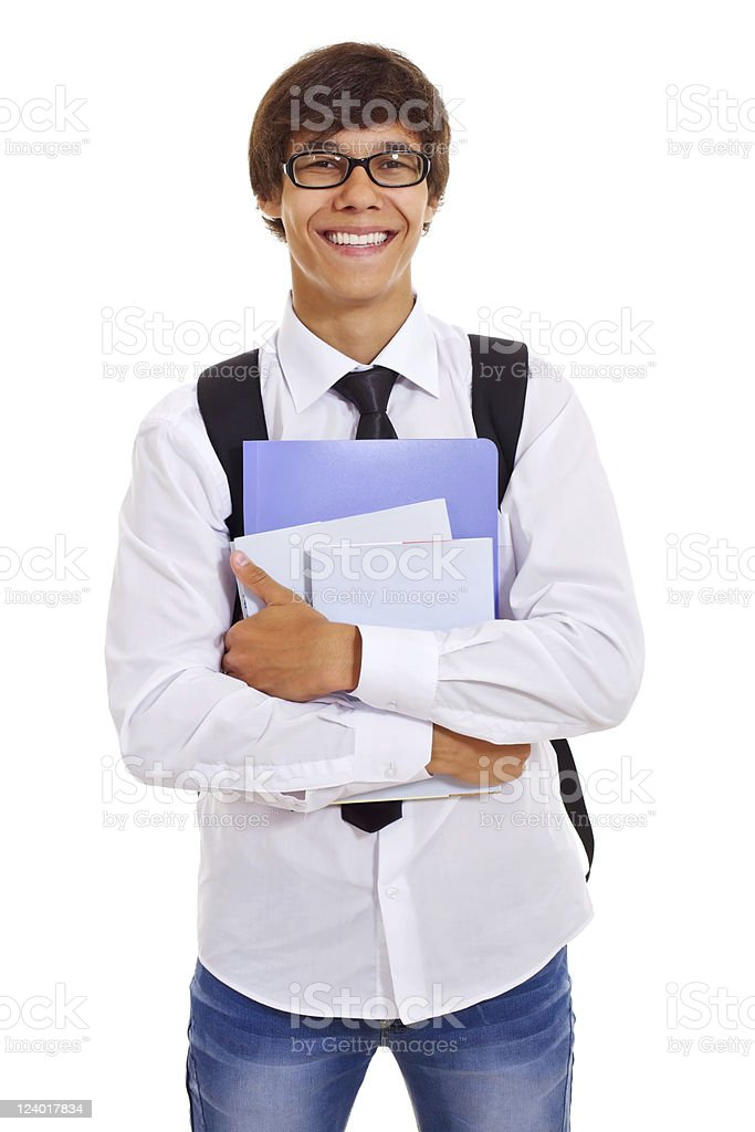 Happy student with books royalty-free stock photo