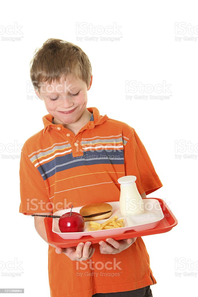 happy student with lunch stock photo
