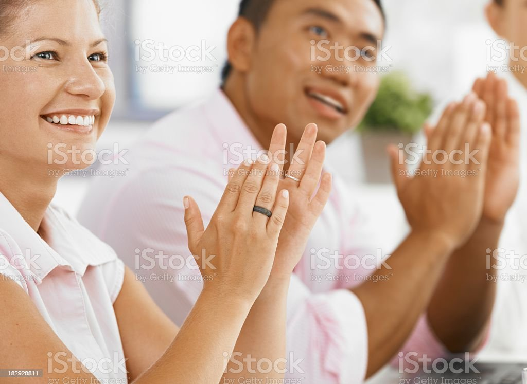 Happy students clapping royalty-free stock photo