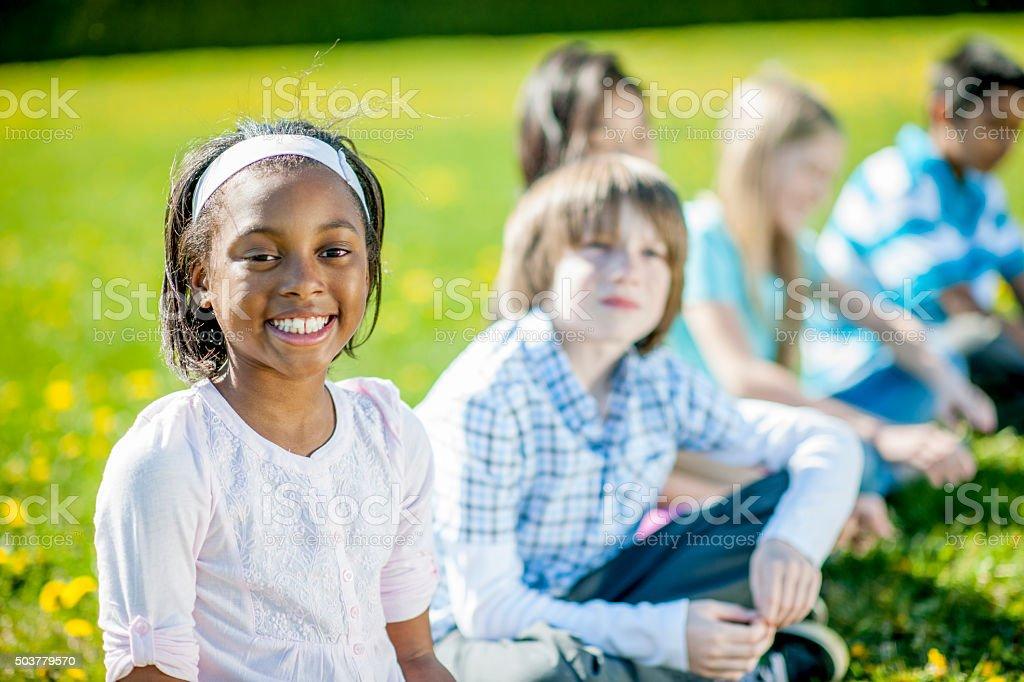 Happy Students Enjoying Their Field Trip stock photo