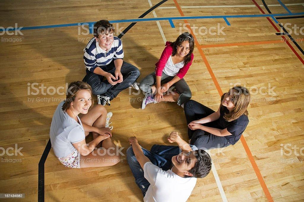 Happy Students in a Circle, School Gymnasium