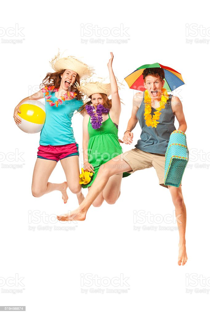 Happy Students on Springbreak Going to Beach Vacation on White Background stock photo