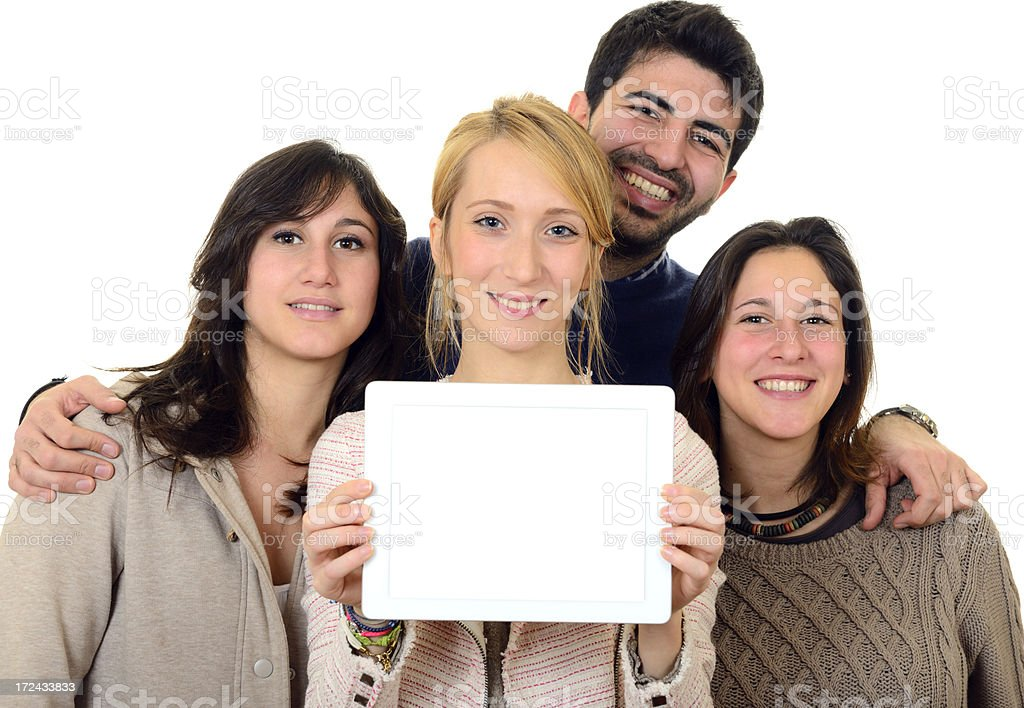 Happy Students Showing Digital Tablet royalty-free stock photo