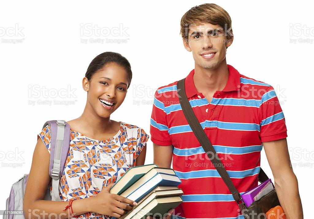 Happy Students Standing Together - Isolated royalty-free stock photo