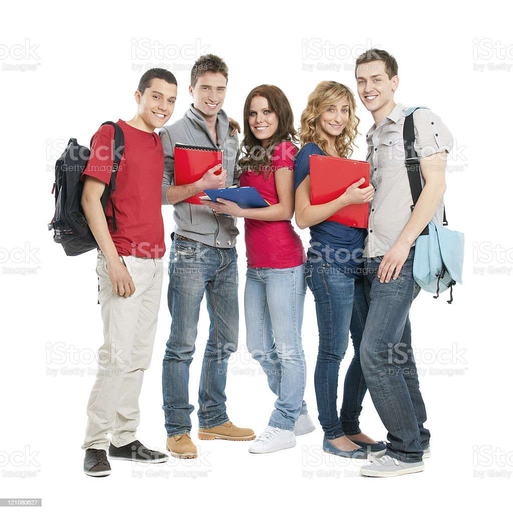 Happy students together stock photo
