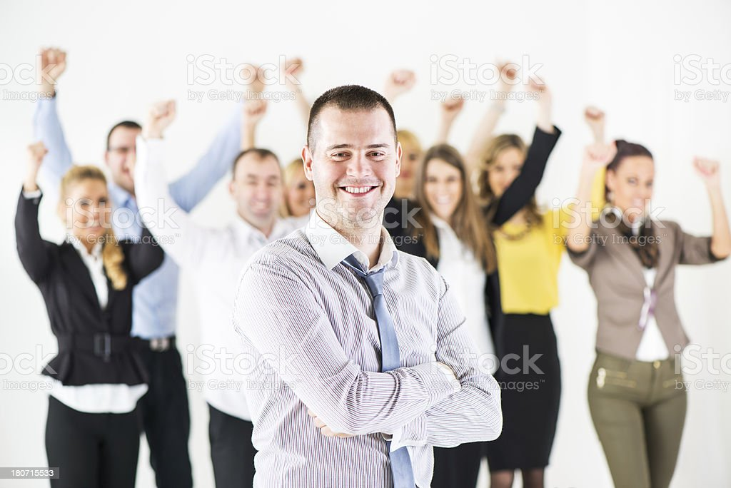 Happy successful business man royalty-free stock photo