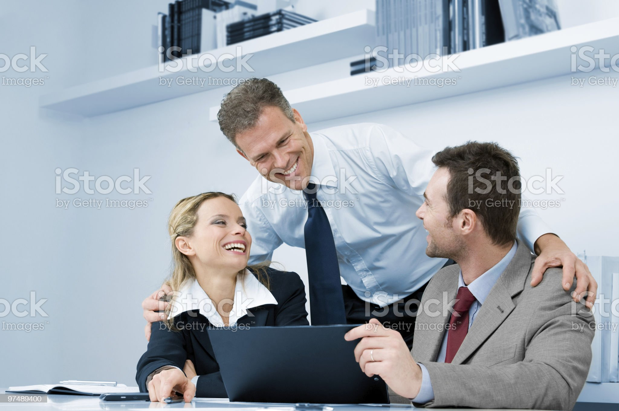 Happy successful business meeting royalty-free stock photo