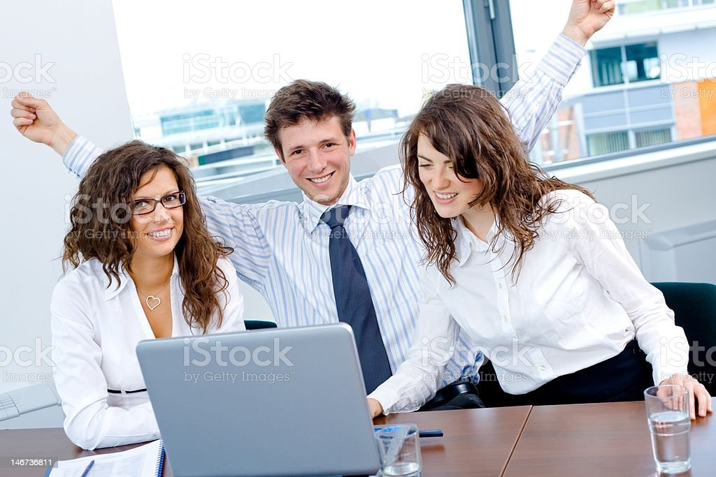 Happy successful business team royalty-free stock photo