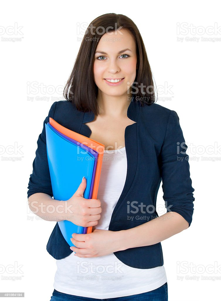 Happy successful business woman. Isolated over white background stock photo