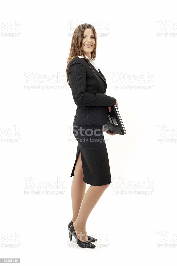 happy successful businesswoman with laptop stock photo
