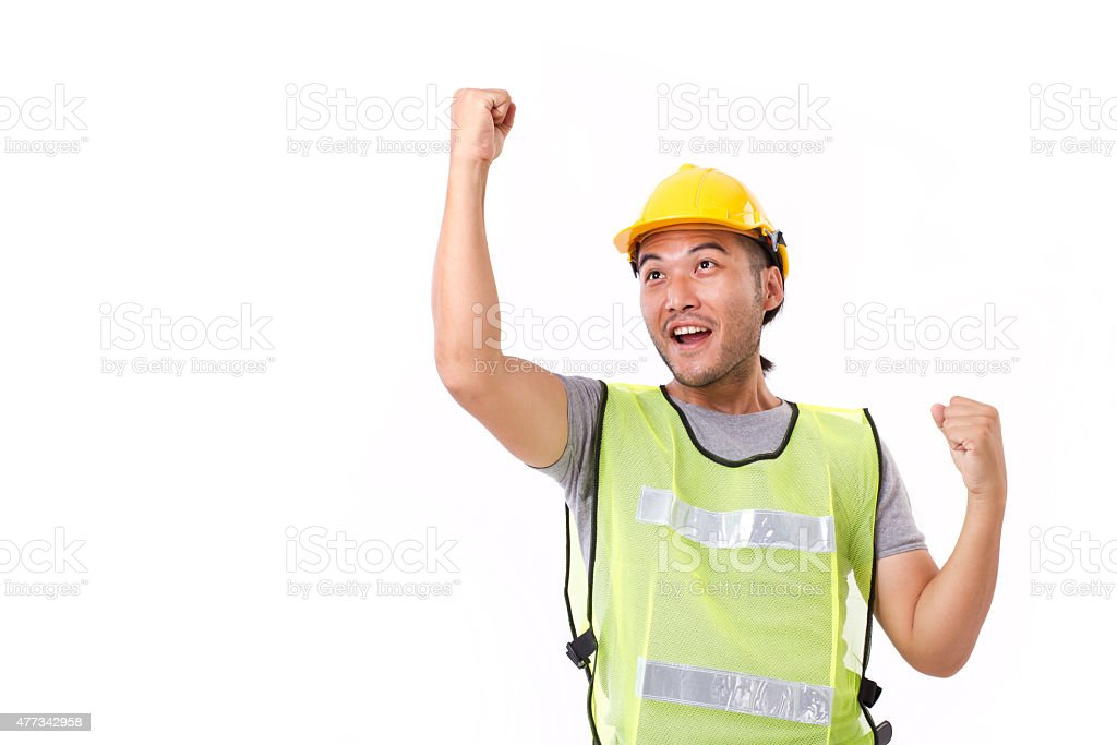 happy, successful construction worker on white background stock photo