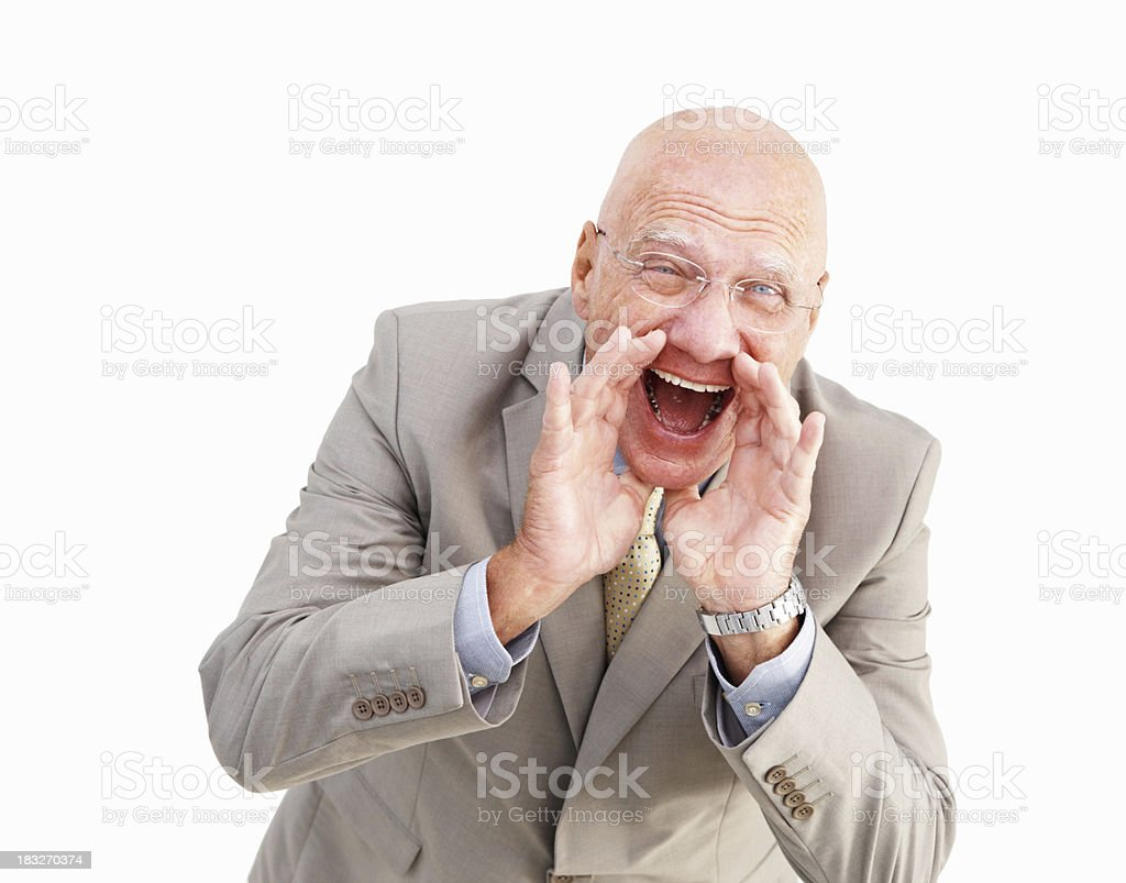Happy successful senior businessman shouting royalty-free stock photo