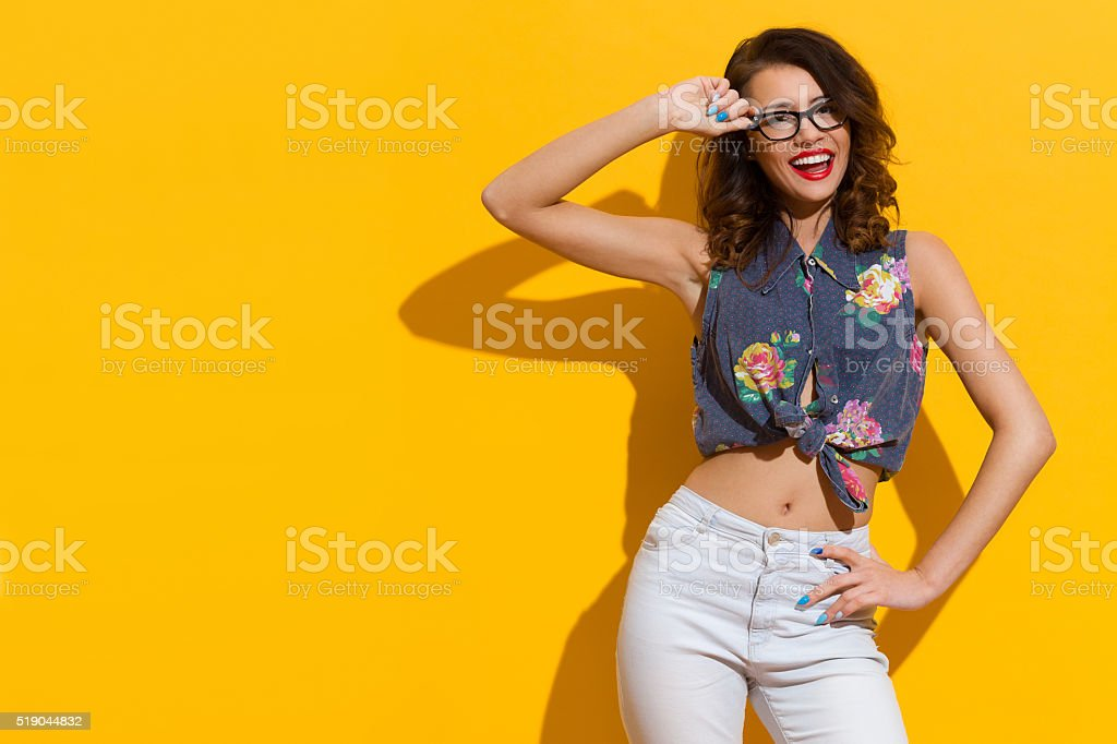 Happy Summer Girl In Glasses stock photo
