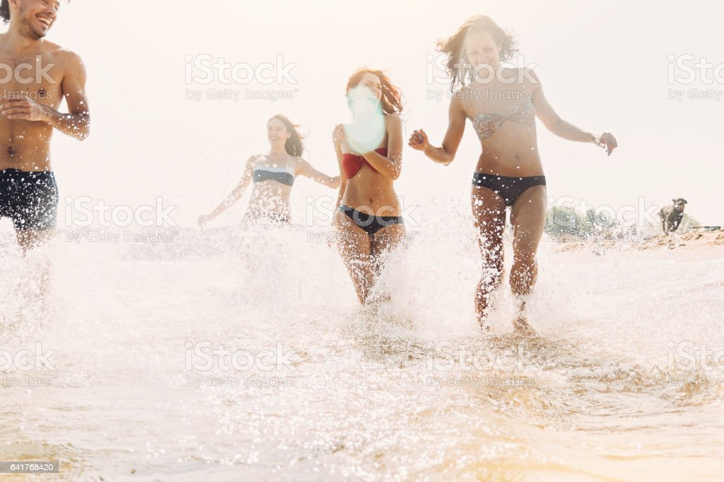 Happy summer splashing stock photo