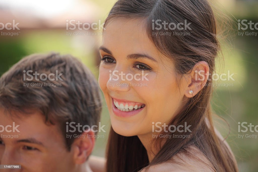 happy sunny outdoors smiling brunette teenager portrait stock photo